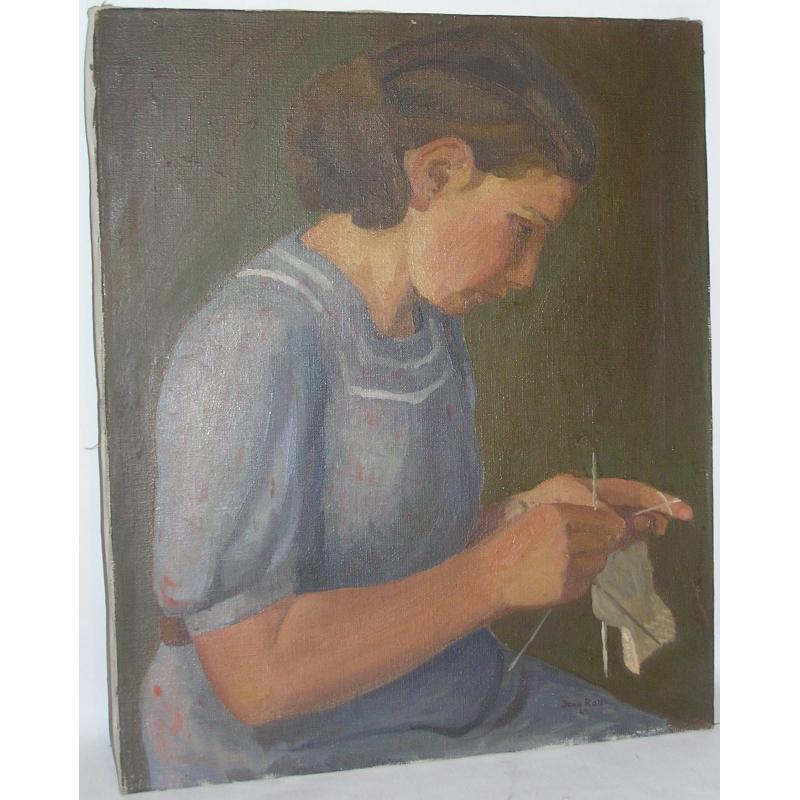 peintures tableau huile sur toile jeune fille moinat sa antiquit s d coration. Black Bedroom Furniture Sets. Home Design Ideas