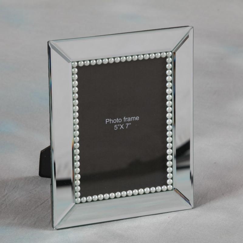cadre photo en miroir et perles sur moinat sa antiquit s d coration. Black Bedroom Furniture Sets. Home Design Ideas