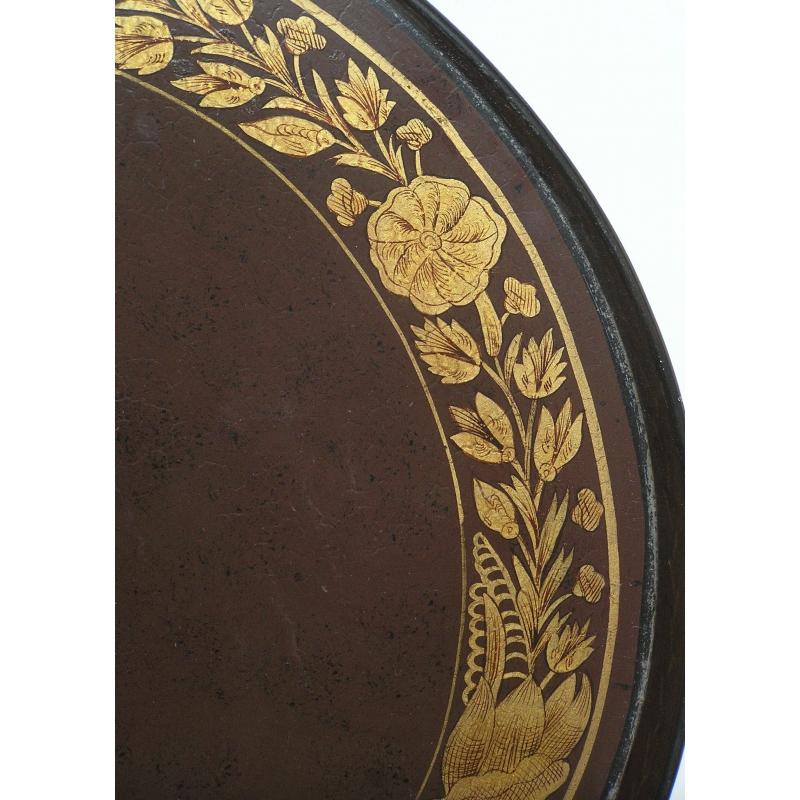 plateau rond napol on iii en t le sur moinat sa antiquit s d coration. Black Bedroom Furniture Sets. Home Design Ideas