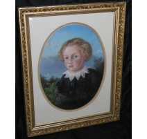 "Pastel ""Child"", signed D'ANDIRAN. Dated 1859."