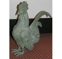 """Sculpture """"Coq"""", en bronze vert."""