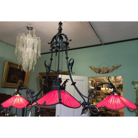 lustre de billard 3 lumi res en fer sur moinat sa antiquit s d coration. Black Bedroom Furniture Sets. Home Design Ideas