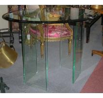 Table ovale, dessus en verre et