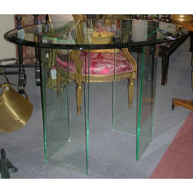 table ovale dessus en verre et sur moinat sa antiquit s d coration. Black Bedroom Furniture Sets. Home Design Ideas