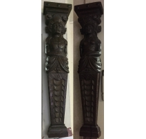 Pair of pilasters in beech richly