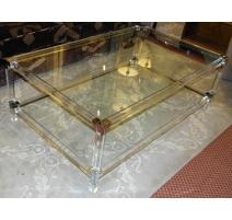 """Table basse """"LUX"""" en plexiglas et verre"""