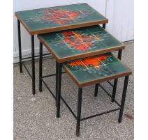 Lot de 3 tables gigognes années 60,