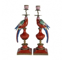 "Pair of candle holders ""Parrots red"""