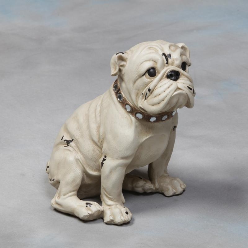 Chien bulldog blanc en r sine sur moinat sa antiquit s for Decoration chien resine