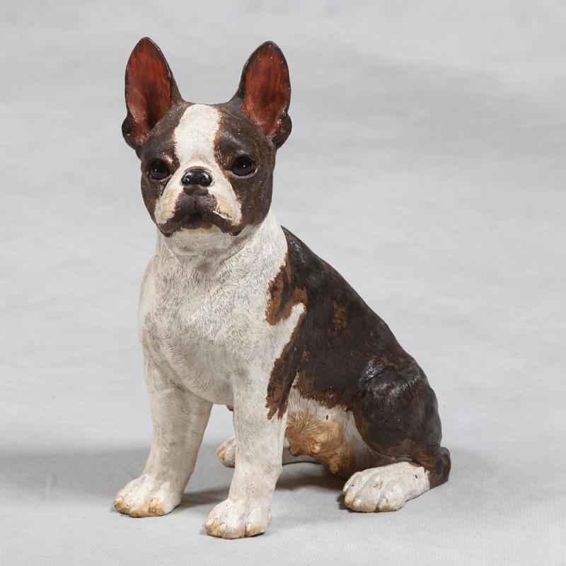 Chien bulldog fran ais assis en r sine sur moinat sa for Decoration chien resine