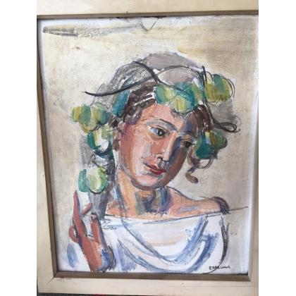 """Gouache sur plâtre """"Portrait"""", signée"""