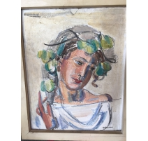 "Gouache on plaster ""Portrait"", signed"