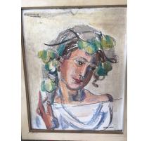 """Gouache sobre yeso """"Retrato"""", firmado"""