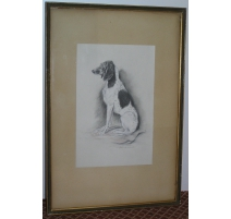 """Dibujo de la """"caza"""" Perro sentado"""", firmado X. DE PORET"""