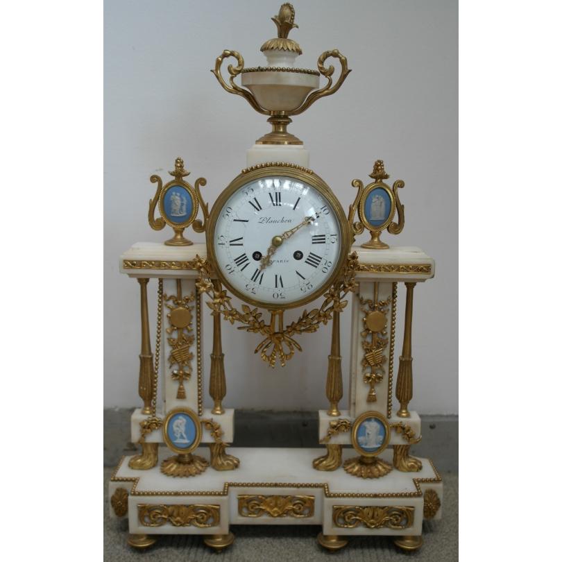 Pendule portique Louis XVI en marbre de