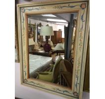 Miroir, en bois peint. Avec décor,