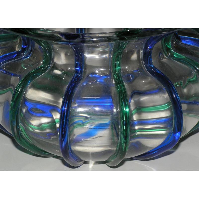 Vase rond vers 1950 en verre sign sur moinat sa antiquit s d coration - Vase rond en verre ...