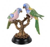 Branche en bronze avec deux perroquets