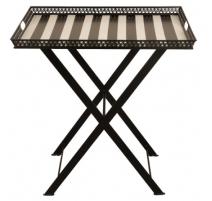 Table plateau rectangulaire rayée noire