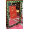 Miroir suédois en bois et médaillons en