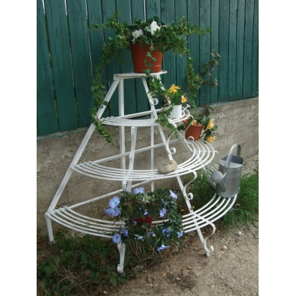 Porte plante demi lune en fer forg sur moinat sa antiquit s d coration for Porte plante fer forge blanc