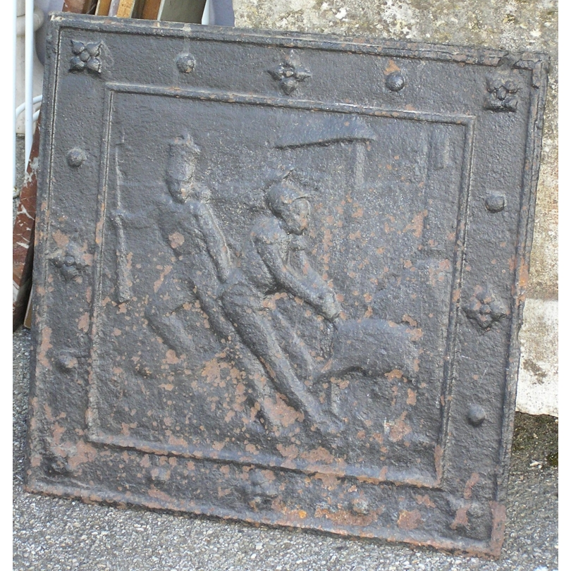 Plaque de cheminée, en fonte. France.