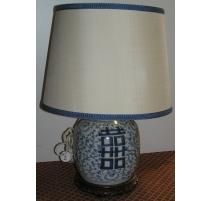 Lampe ronde, en porcelaine blanche à