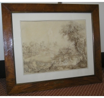 """Drawing on paper """"Landscape and"""
