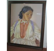 """Pastell auf papier, """"Porträt einer jungen"""