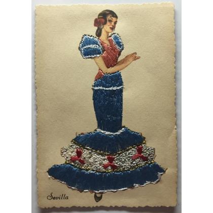 "Carte postale brodée ""Sevilla"" TARJETA"