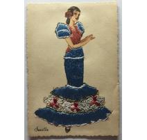 """Postkarte, bestickt, """"Sevilla"""" TARJETA"""