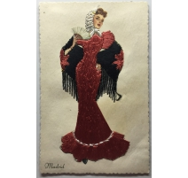 """Postcard embroidered """"Madrid"""" TARJETA"""