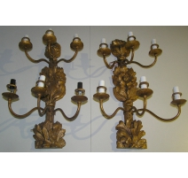 Pair of wall lights with 6 lights, wood