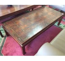 Table basse chinoise en laque motifs hexagonaux