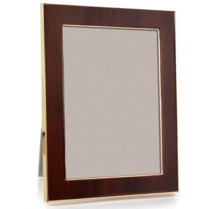 Cadre photo en acajou et métal doré,