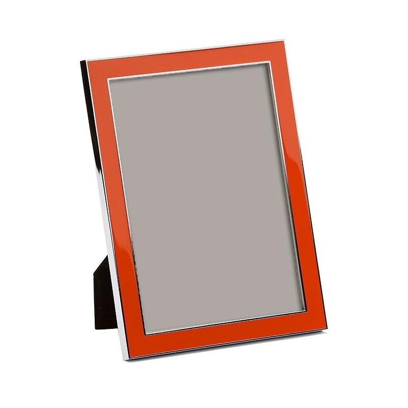 Cadre photo émaillé orange