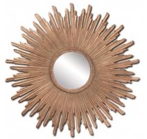 Miroir soleil en résine dorée