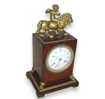 "Empire clock ""Lion"", signed Dubuc Jeune."
