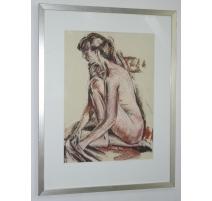 "Pastel ""Female nude"", signed Jean-Louis MERRÉ."
