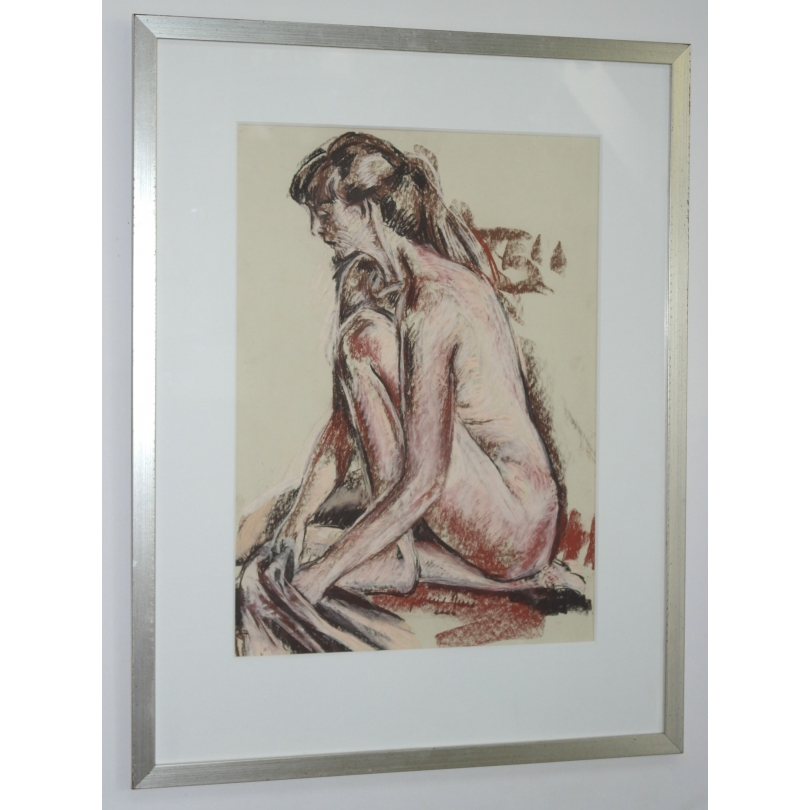 """Pastel """"Femme nue"""", signé Jean-Louis MERRÉ."""