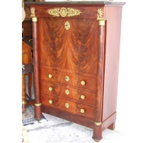 Empire escritoire with 3 drawers. Black marble top