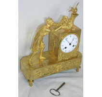 Woman with doves ormolu mantel clock. Paris.