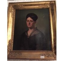 Portrait de Mme COURTAT signé L. DUMONCEAU.