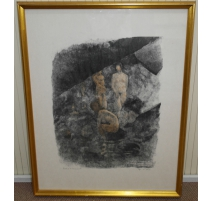 """Engraving """"the bath in the cave"""", signed HAINARD"""