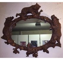 """Miroir ovale """"Ours"""" en bois sculpté de Brienz"""