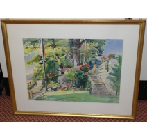 "Watercolor ""Edge of the lake in Dully Signed S. FORLEY"