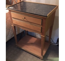 Bedside Directoire style cherry wood top marble