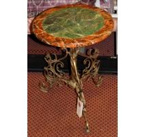 Pedestal de la base de la mesa de bronce y de mármol de imitación