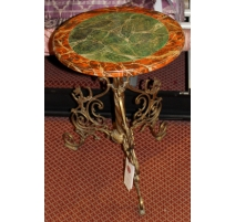 Pedestal table base with brass and faux marble
