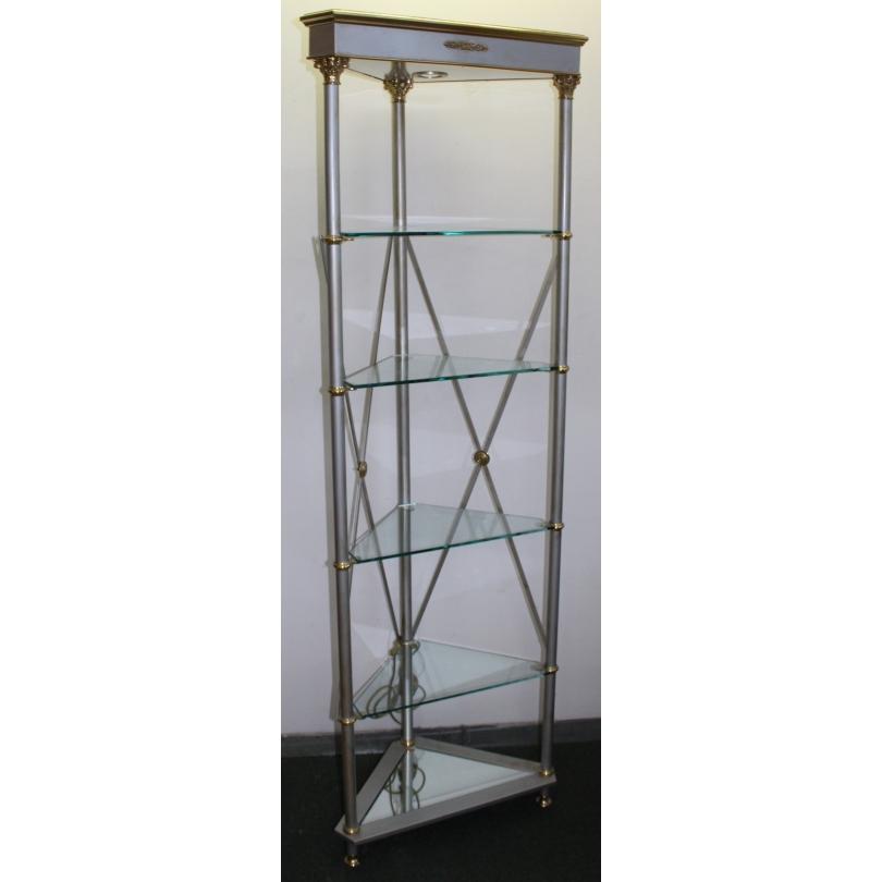etag re d 39 angle avec rayonnages en verre sur moinat sa antiquit s d coration. Black Bedroom Furniture Sets. Home Design Ideas